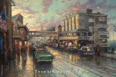 "Today we visit the Monterey Bay with Thomas Kinkade's 2007 painting ""Cannery Row Sunset"". The once bustling fishing center is now a beautiful vacation spot, with whale watching tours, boating adventures, museums, fine dining, and gorgeous boutiques featuring unique local gifts. View this painting in detail and get inspiration for a summer getaway at the link in this Pin. #thomaskinkade #summerdestinations #art"