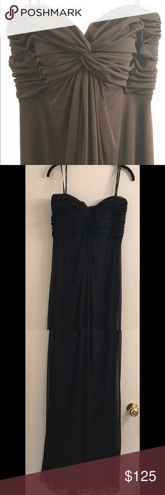 "T by Tadashi Sweetheart Mesh Gown Black Bridesmaid An elegantly pleated and knotted bodice shapes the sweetheart neckline of a flowing, strapless mesh gown. Approx. length from top center front to hem: regular 54"" Tadashi Shoji Dresses Wedding"