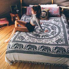 Elania Elephant Black Taupe Large Mandala Boho Bohemian Tapestry