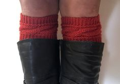 #bootcuffs #bootsocks #boottoppers #winterfashion #winterapparel Red Orange Saffron Boot Cuffs Cable Knit Boot Liners Toppers $25.00