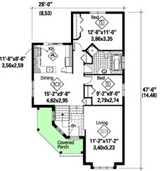 COOL house plans offers a unique variety of professionally designed home plans with floor plans by accredited home designers. Styles include country house plans, colonial, Victorian, European, and ranch. Blueprints for small to luxury home styles. Cottage House Plans, Tiny House Plans, Cottage Homes, Victorian House Plans, Victorian Homes, 2 Bedroom House Plans, Sunken Living Room, Small Cottages, A Frame House