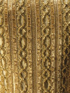 CARDIGAN-STYLE JACKET(image 4); YVES SAINT LAURENT PATRON ORIGINAL; S/S 1973; AN ELABORATE CUTWORK AND GOLD BEADED. (Garde-robe de Mademoiselle Paule Noëlle, sociétaire de la Comédie Française) Tambour Beading, Tambour Embroidery, Couture Embroidery, Gold Embroidery, Embroidery Fashion, Embroidery Stitches, Hand Embroidery Patterns Flowers, Hand Embroidery Designs, Ysl Saint Laurent