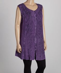 Another great find on #zulily! Purple Floral Sleeveless Dress - Plus by Flower #zulilyfinds