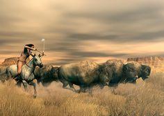 buffalo indian art | Buffalo Hunter Digital Art - Buffalo Hunter Fine Art Print