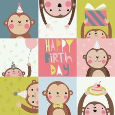 Gina Lorena Maldonado - Monkeys - Happy Birthday - GM