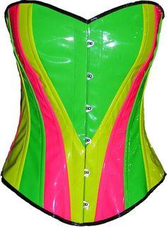 Neon Rainbow multi corset basque pvc leather - find it