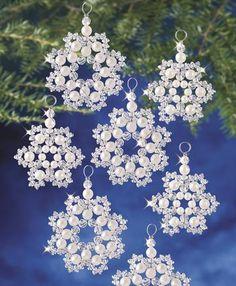 Beadery Holiday Beaded Ornament Kit Crystal & Pearl (White) Snowflakes Makes 12 (Crystal & Pearl Snowflakes Makes Beaded Christmas Ornaments, Snowflake Ornaments, Christmas Snowflakes, Christmas Crafts, Diy Ornaments, Felt Christmas, Homemade Christmas, Crochet Christmas, Beaded Snowflake