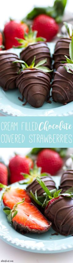 These chocolate covered strawberries are filled with a marshmallow cream! This is a super simple dessert that uses only and comes together quickly! Chocolate dipped strawberries are one of my favorite desserts, and these cream filled Strawberry Recipes, Fruit Recipes, Sweet Recipes, Dessert Recipes, Strawberry Salads, Cookbook Recipes, Easy Recipes, Recipies, Classic Desserts