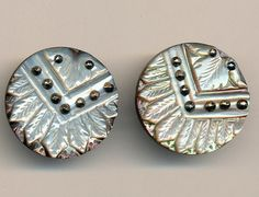 Antique Buttons 2 Carved Pearl with Cut Steel