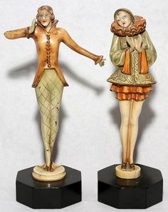 "ART DECO POLYCHROME METAL FIGURES, PAIR, H 7 1/2"":  No apparent markings. DuMouchelles: Detroit, 	MI,  USA  Auction Date: January 19, 2013"