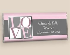 Bubblegum Box of Love HERSHEY'S Bar Wedding Favors #WrappedHersheys #customcandy #hersheybarwrappers #personalizedcandy