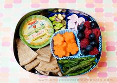 hummus (singles from costco) and whole wheat pita,  pistachios, HappyBaby yogurt melts, carrot flowers, freeze dried green beans, blueberries and raspberries.