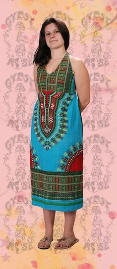 DRESS - DASHIKI PRINT COTTON HALTER DRESS