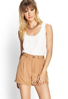 Button-Tab Woven Shorts | FOREVER21 #F21Contemporary