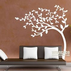 Living room wall? Tree in the wind! Vinyl white tree wall decals by wiwicoco, via Flickr
