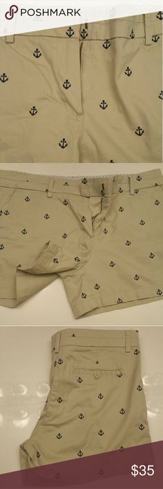 Anchor print khaki shorts New. These are adorable and I want to keep them unfortunately they are too short for me. I normally wear a 12/14 and these felt a little tighter than normal British khaki Shorts