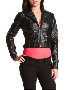 Cropped pleather jacket, Charlotte Russe