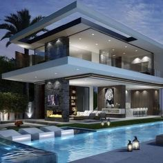 A modern house exterior design can come in so many choices. There are two main types of design: styles that include minimalistic building styles that add color and style to the exterior. Dream House Exterior, Modern House Design, My Dream Home, Dream Homes, Dream Mansion, Exterior Design, Modern Exterior, Exterior Paint, Future House