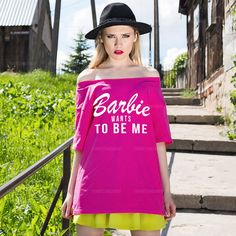 Oversize Off Shoulder Tshirt Barbie Wants To by TshirtsTakeaway