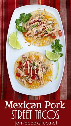 Mexican Pork Street Tacos (Crock Pot) from Jamie Cooks It Up! Super easy and fabulously delicious.