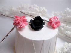 Black Rose Pink Flower Bobby Pins  Hair Pin by FashionCrashJewelry
