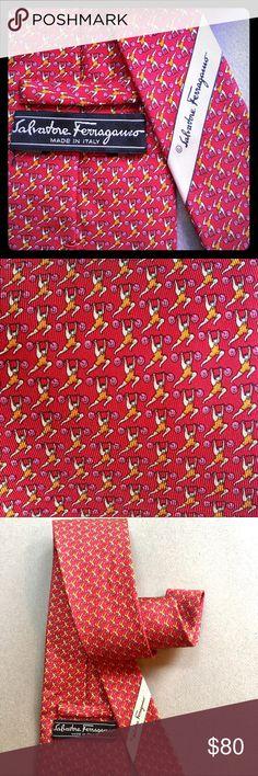 Salvatore Ferragamo Silk Tie Cute pattern of an old-fashioned weightlifter. Red background, weightlifter wearing light orange singlet, round ends of weights are pale pink.  Never worn, silk feels fresh, good body. Salvatore Ferragamo Accessories Ties