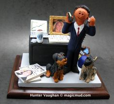 Stock Broker's Custom Gift  www.magicmud.com 1 800 231 9814 creating a custom made gift figurine for any man based on the things he likes to do! ...incorporating his work, sports, family, hobbies, food, drink, electronic gadgets, etc. $225 #stockbroker #stocktrader #dad #men #guys #christmas #birthday #anniversary #custom #personalized #xmas #present #award #ChristmasGift #BirthdayGift #husband