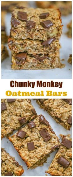 Healthy Chunky Monkey Oatmeal Bars - Easy - Looking for a healthy sweet snack you can feel good about? These Healthy Chunky Monkey Oatmeal Bar - Banana Oatmeal Bars, Chocolate Oatmeal Cookies, Oatmeal Cookie Recipes, Oatmeal Squares Cereal Recipe, Baked Oatmeal Bars, Oatmeal Breakfast Bars Healthy, Oatmeal Cookie Bars, Brownie Recipes, Healthy Sweet Snacks