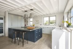 New pictures just in of a lovely Kitchen in Salcombe, designed, manufactured and installed by ourselves here at Treyone. Hague Blue Kitchen, Blue Kitchen Island, Kitchen Plinth, Kitchen Units, Kitchen Ideas, Shaws Sinks, Farrow And Ball Kitchen, Blue Furniture, Quality Kitchens