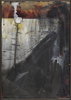 Anselm Kiefer (German, b. 1945), Mast, 1984-85. Lead, acrylic, lacquer, emulsion and gelatin silver print on board, 100.3 x 69.8 cm.