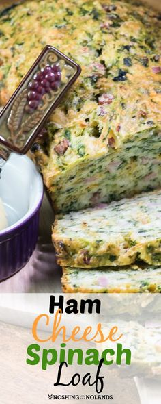 Ham Cheese Spinach Loaf by Noshing With The Nolands is a delicious and hearty quick bread that is the perfect way to start your day! Or serve it for brunch on any special occasion!