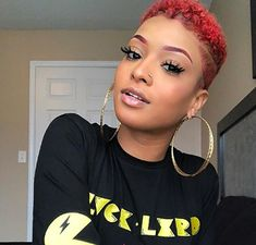 9 Curly Pixie Cuts That Prove Curly Hair Looks Good At Any Length rocks her curl Natural Hair Short Cuts, Short Natural Haircuts, Tapered Natural Hair, Short Hair Cuts, Natural Hair Styles, Curly Pixie Haircuts, Curly Pixie Cuts, Big Chop Hairstyles, Black Hairstyles