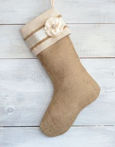 Burlap Stocking - Embellished with Ivory Satin Flower and Vintage Rhinestone Button via Etsy