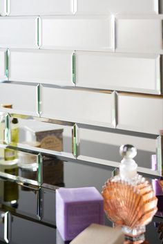 Silver Mirrored Bevelled Wall Tiles