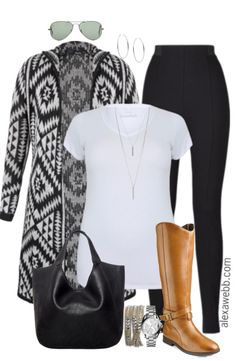 "Every fall wardrobe needs a long cozy cardigan.  And this plus size ""Aztec"" cardigan has a hood.  I love hoods!  Casually throw one over leggings and a t-shirt.  Add a nice pair of wide calf boots to complete the look.  Go here for another fall cardigan outfit idea. Shop the Look Sunglasses (less $ similar)… Read More"