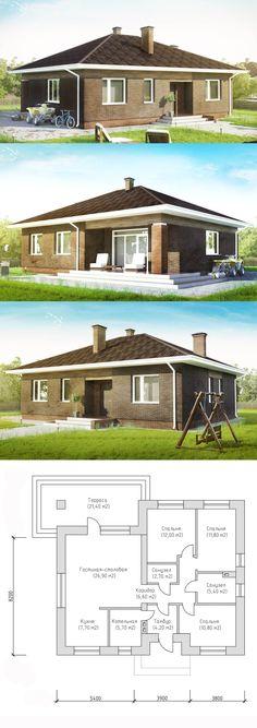 Проект небольшого уютного дома до 100 кв.м. | Архитектурное бюро. Авторские проекты планы домов и коттеджей в Воронеже, Белгороде, Курске, Туле, Москве