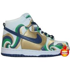 detailed look 50d38 68e22 Mens Nike Dunk High Furious Flow White Gold Blue Green