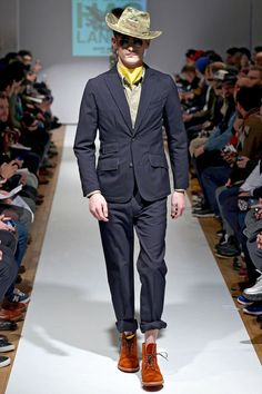 Blue Suit, Rust colored dessert boots, yellow scarf with Camo Cowboy Hat_Fall 2013 Lookbook #2_Mark McNairy New Amsterdam
