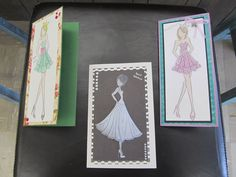 """My """"Perga Girls"""" class I'm teaching at the store, Stamplicity.  Used vellum to create a very different design for these very popular Prima Doll Stamps."""
