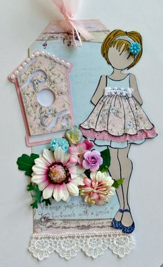 Pink & Blue Birdhouse 2 JN Doll One Tag