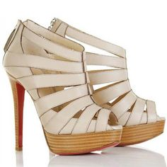 Christian Louboutin Pique Cire Ankle Boots Leather Beige