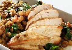 Kyllingfilet med linser og spinat