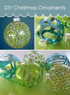 Easy DIY Christmas ornaments using just glitter and a dab of glue. An easy and fun Christmas craft.  http://www.creativeinchicago.com/2012/11/diy-christmas-ornament.html