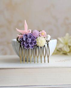 Pink Bird Purple Chrysanthemum Pearl Ivory Daisy Flower by LeChaim, $25.00