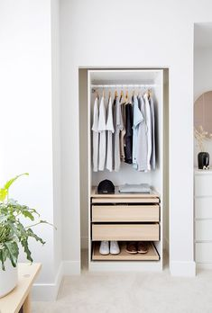 Tour a two-bedroom home in Vancouver that spotlights some of the best IKEA hacks we've ever seen Ikea Malm Bed, Ikea Pax, Bedroom Storage, Bedroom Decor, Closet Hacks, Murphy Bed Ikea, Swedish Decor, Closet Designs, Minimalist Bedroom