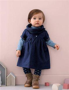 Kleid in Jeansoptik.   #vertbaudet #Herbst #Winter #2015 #Kinderkleidung #Babymode