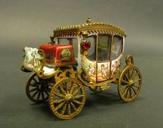 19th C. Miniature Austrian Viennese Enamel Carriage : Lot 183