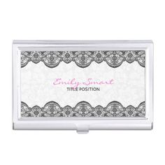Elegant White Damasks Black Lace Business Card Holder - black and white gifts unique special b&w style
