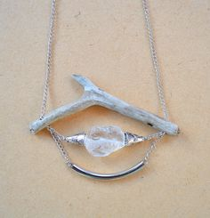 Driftwood & Raw Mineral Necklace