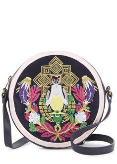 Mary Katrantzou Navy Embroidered Leather Cross-Body Bag
